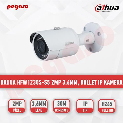 DAHUA HFW1230S-S5 2MP 3.6mm, IR Mini-Bullet IP Kamera