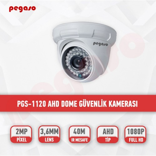 PEGASO PGS-1120 2 MP, 3.6 MM, 36 IR LED, AHD DOME GÜVENLİK KAMERASI
