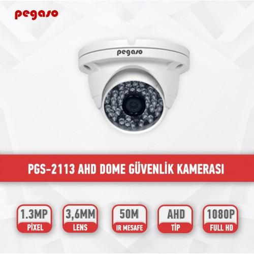 PEGASO PGS-2113 1.3 MP, 3.6 MM, 48 IR LED, AHD DOME GÜVENLİK KAMERASI