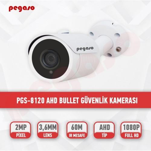 PEGASO PGS-8120 2 MP, 3.6 MM, 6 KİNG LED, AHD BULLET GÜVENLİK KAMERASI