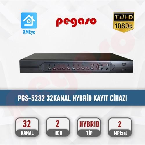 PEGASO PGS-5232  32 KANAL 2MP 16 SES 2 HDD XVR KAYIT CİHAZI