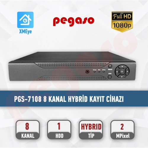 PEGASO PGS-7108 8 KANAL 1080N XMEYE H.265 5 IN 1 AHD-IP-HDTVI-HDCVI-ANALOG KAYIT CİHAZI