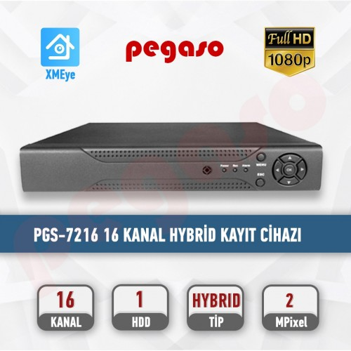 PEGASO PGS-7216 16 KANAL XMEYE 1080N 5 IN 1 AHD-IP-HDTVI-HDCVI-ANALOG KAYIT CİHAZI