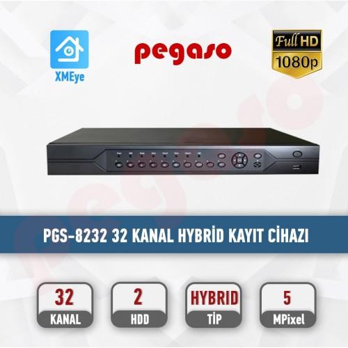 PEGASO PGS-8232  32 KANAL 5MP H265 16 SES 2 HDD XVR KAYIT CİHAZI