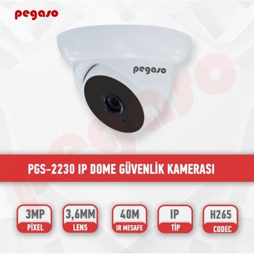 PEGASO PGS-2230 3 MP 3,6 MM 36 IR LED IP DOME GÜVENLİK KAMERASI