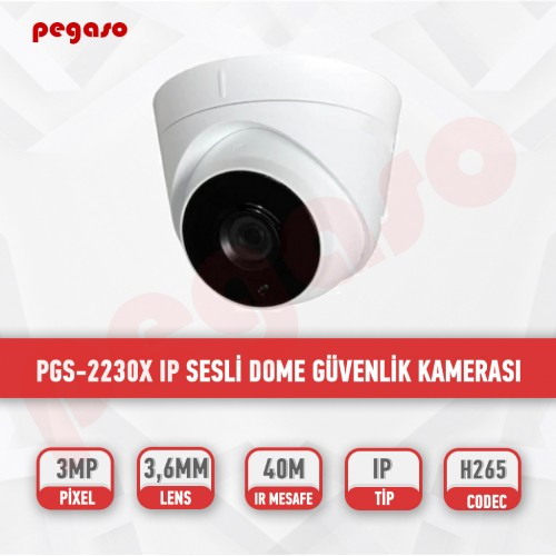 PEGASO PGS-2230X 3 MP 3,6 MM 3  ARRAY LED IP DOME GÜVENLİK KAMERASI