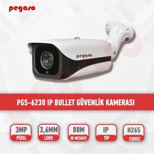 PEGASO PGS-6230 3 MP 3.6 MM  4 MEGA LED, H-265 IP BULLET GÜVENLİK KAMERASI
