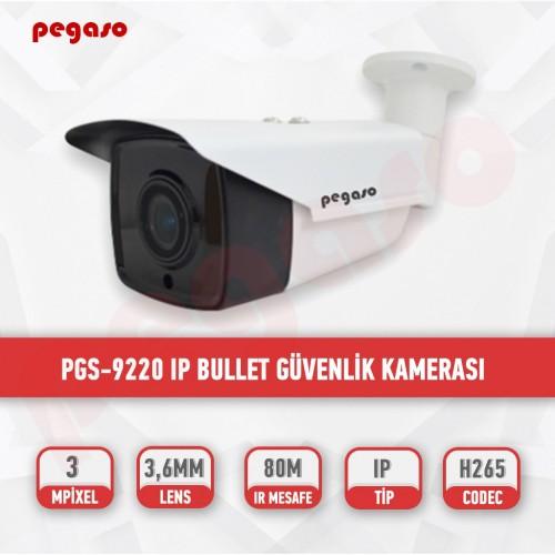 PEGASO PGS-9220 H265 3 MP  3.6 MM 4 MEGA LED IP BULLET GÜVENLİK KAMERASI