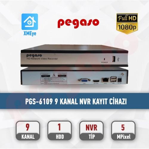 PEGASO PGS-6109 9 KANAL H.265  9x5MP 1 HDD NVR IP KAYIT CİHAZI