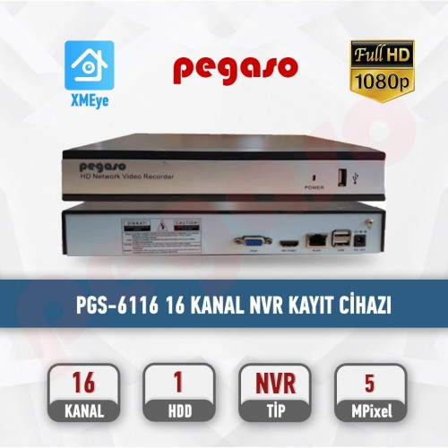 PEGASO PGS-6116 16 KANAL H265 16X5MP 1 HDD NVR IP KAYIT CİHAZI