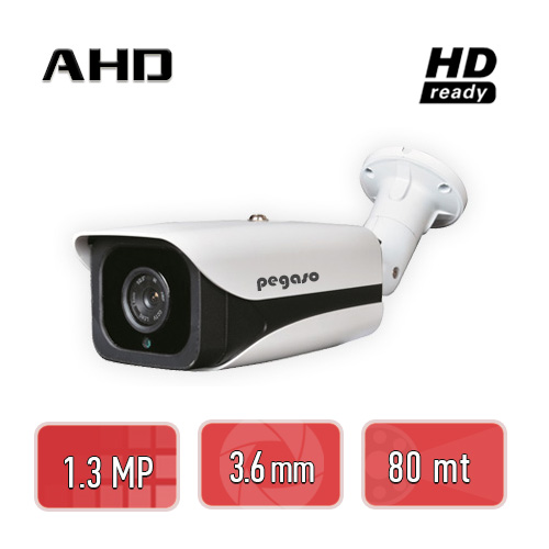PEGASO PGS-6113 1.3 MP, 3.6 MM, 4 MEGA LED, AHD BULLET GÜVENLİK KAMERASI
