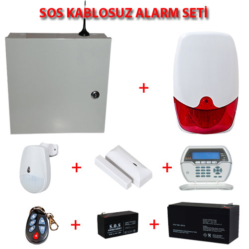 SOS S6464 KABLOSUZ/KABLOLU ALARM PANELİ FULL SET