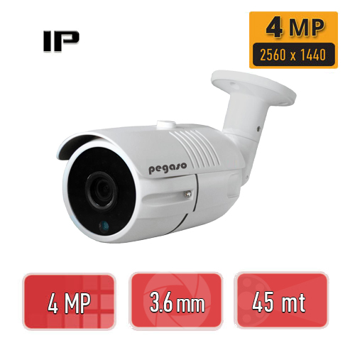 PEGASO PGS-4240 4 MP 3.6 MM 42 IR LED IP BULLET GÜVENLİK KAMERASI