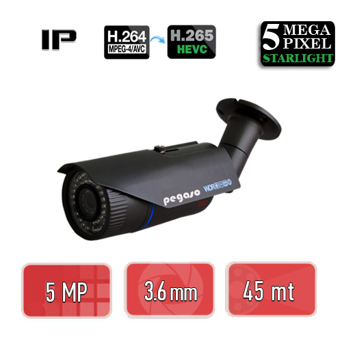 PEGASO PGS-5250 STARLIHGT 5 MP 3.6 MM 42 IR LED H.265 IP BULLET GÜVENLİK KAMERASI