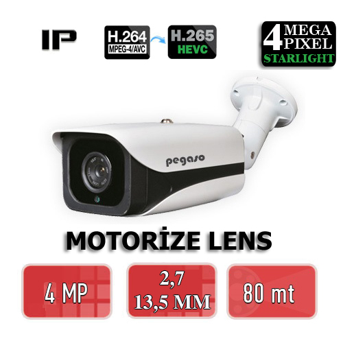 PEGASO PGS-6240-AF 4 MP, 2,7-13,5 MM 4 MEGA LED MOTORİZE LENS IP BULLET GÜVENLİK KAMERASI