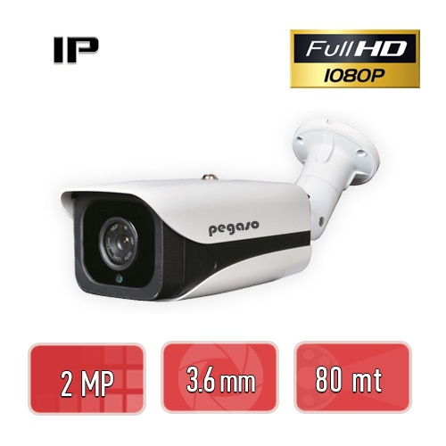PEGASO PGS-6220 2 MP, 3.6 MM, 4 MEGA LED, IP BULLET GÜVENLİK KAMERASI