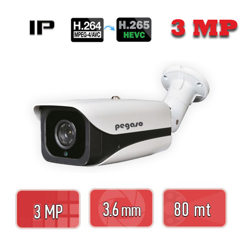 PEGASO PGS-6230 3 MP 3.6 MM  4 MEGA LED, H-265 IP BULLET GÜVENLİK KAMERASI
